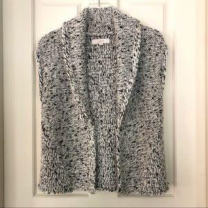 Loft   Marled Black & White Cardigan Vest